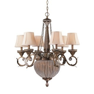 Crystorama Roosevelt Collection 6 + 2-light Weathered Patina Chandelier