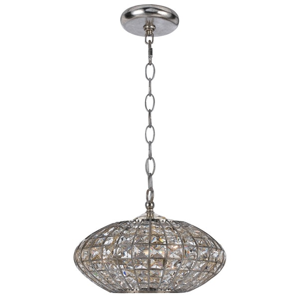 Crystorama Solstice Collection 3-light Antique Silver/ Crystal Pendant