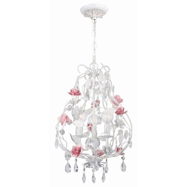 Crystorama Transitional Antique White 3-light Chandelier