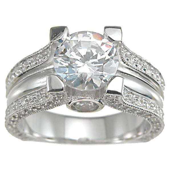 Plutus Sterling-Silver Round-Cut Cubic Zirconia Antique Engagement-Style Ring