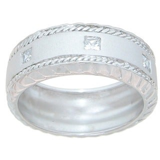 Sterling Silver Men's Princess-cut Cubic Zirconia Wedding-style Band
