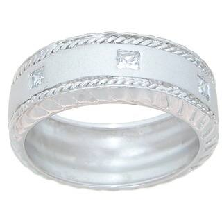 Sterling Silver Men's Princess-cut Cubic Zirconia Wedding-style Band https://ak1.ostkcdn.com/images/products/7630634/P15049366.jpg?impolicy=medium