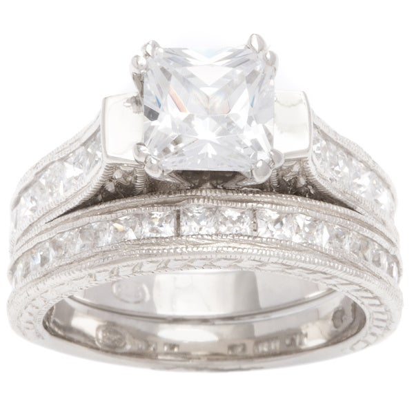 Plutus Sterling-Silver 1 1/2 carat Princess-Cut Cubic Zirconia Antique Bridal-style Ring Set
