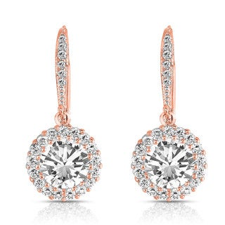 Collette Z Rose Gold over Silver Cubic Zirconia Round Drop Earrings