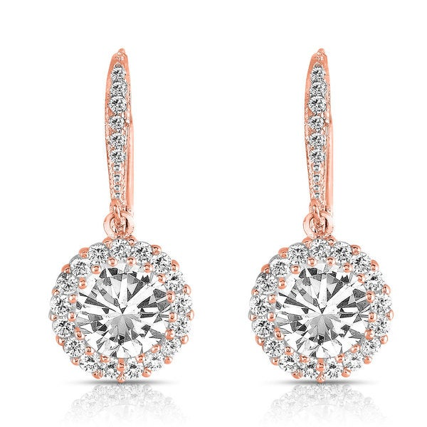 Collette Z Rose over Silver Cubic Zirconia Round Drop Earrings