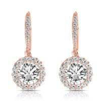 Collette Z Sterling Silver with Rose Gold Plated Clear Round Cubic Zirconia Halo Drop Earrings
