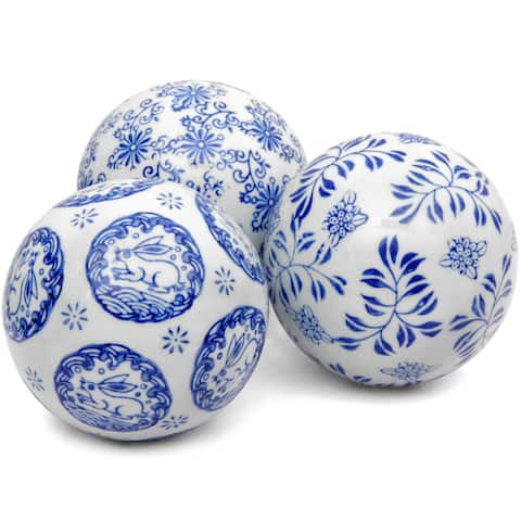 Blue and White Decorative 4-inch Porcelain Ball Set of 3 (China)
