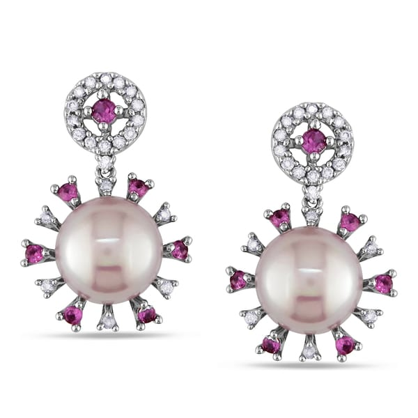 Miadora Signature Collection 18k White Gold Cultured Freshwater Pearl, Sapphire and 1/5ct TDW Earrings (G-H, SI1-SI2)