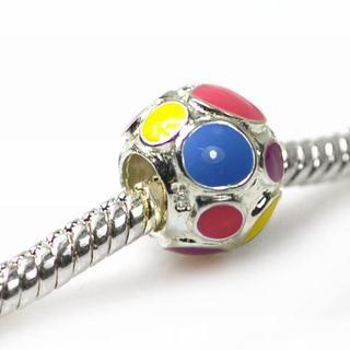 De Buman Sterling Silver Enamel Bubble Charm Bead
