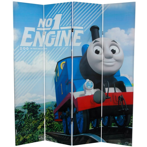 6-Foot Tall Double Sided Thomas and Harold Canvas Room Divider