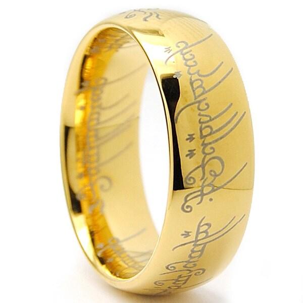 Goldplated Tungsten Carbide Unisex Laser-etched Elvish Script Ring