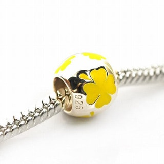 De Buman Sterling Silver Enamel Yellow Flower Charm Bead