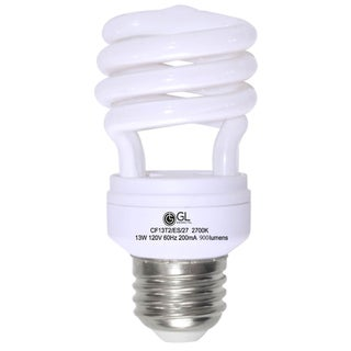 Goodlite® G-10840 13-Watt CFL 60 Watt Replacement 900-Lumen T2 Spiral Light Bulb, 15,000 hour life Soft White 3500k (Case of 25)