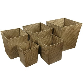 Handmade Hand Woven Natural Storage Bin Set (China)