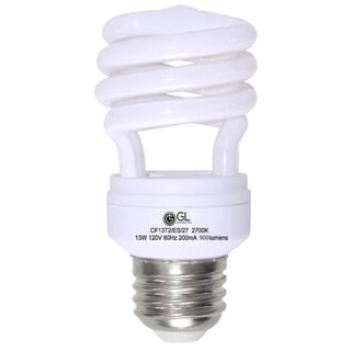 Goodlite G-10841 13-Watt CFL 60 Watt Replacement 900-Lumen T2 Spiral Light Bulb 12,000 Hour Life Cool White 4100k (Case of 25)