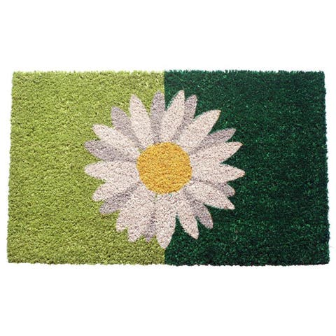 One Daisy on Green Coir Doormat