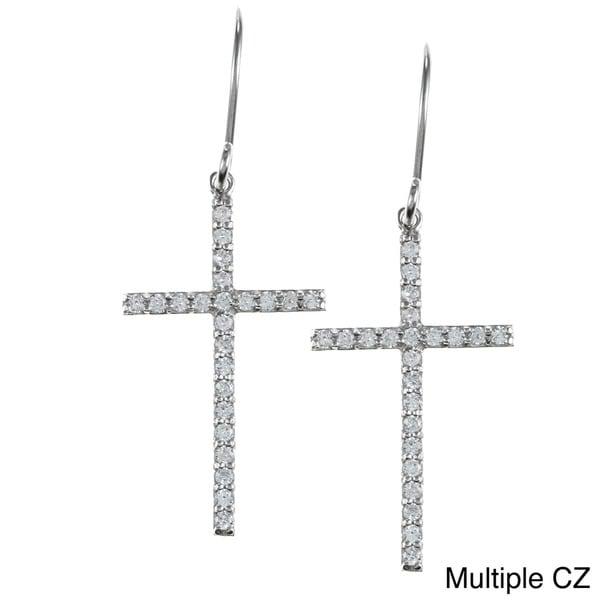 La Preciosa Sterling Silver Cubic Zirconia Cross Earrings