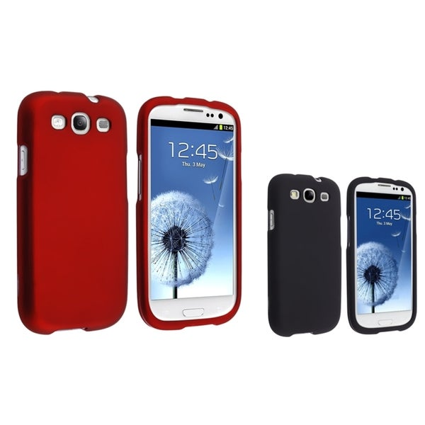 INSTEN Black/ Red Rubber Coated Phone Case Covers for Samsung Galaxy S III/ S3