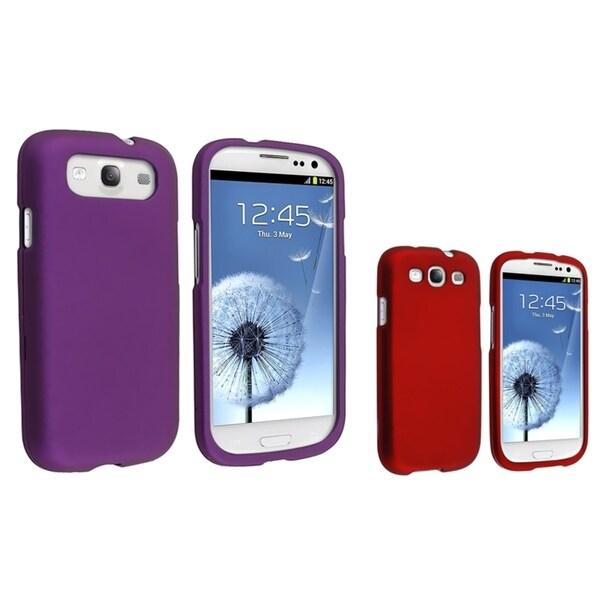 BasAcc Red/ Purple Rubber Coated Cases for Samsung Galaxy S III/ S3