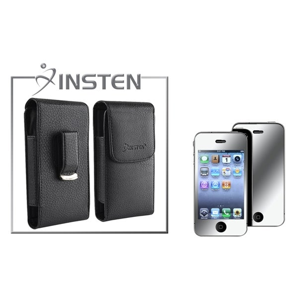INSTEN Leather Case/ Mirror LCD Protector for Apple iPhone 4/ 4S