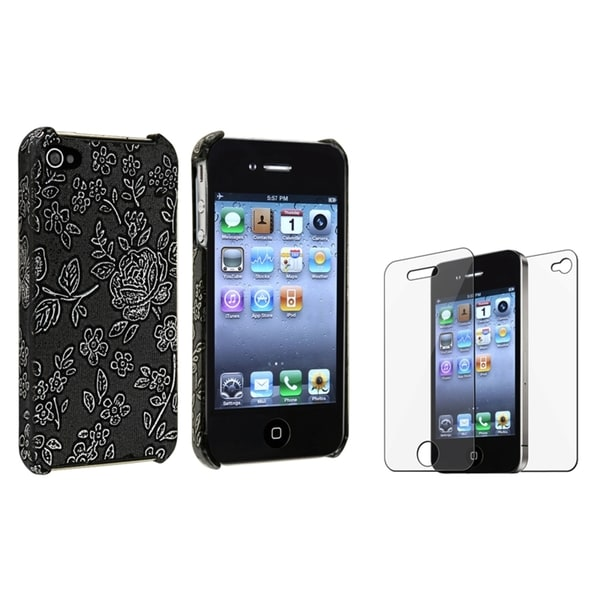 BasAcc Embossed Case/ Screen Protector for Apple iPhone 4/ 4S