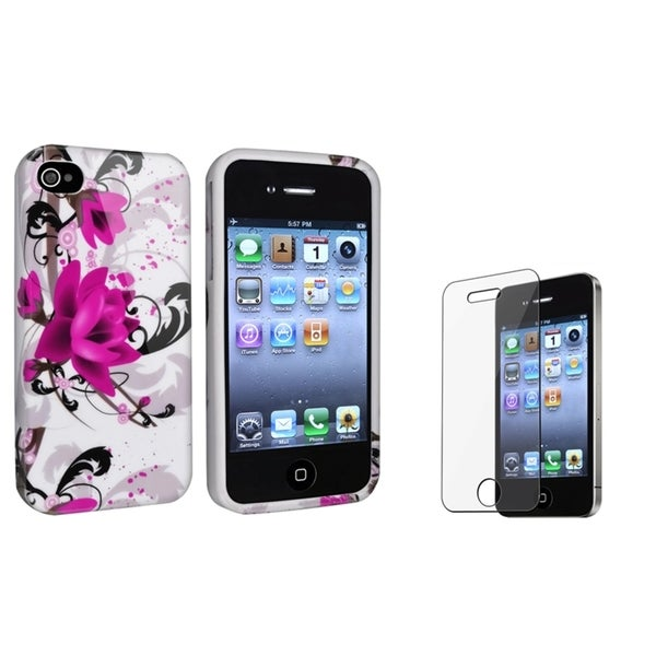 INSTEN White/ Purple TPU Phone Case Cover/ Screen Protector for Apple iPhone 4/ 4S