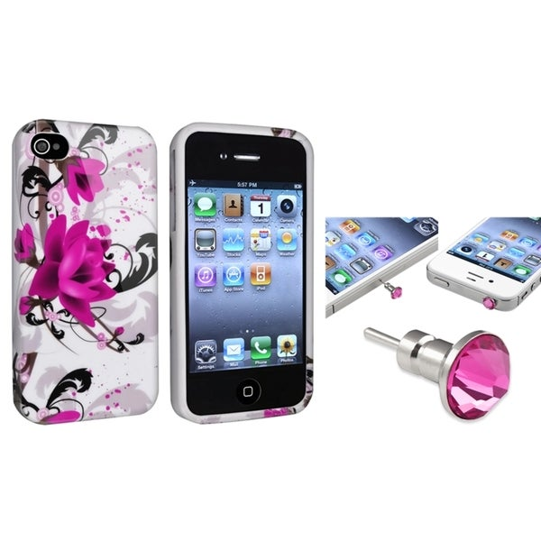 INSTEN TPU Phone Case Cover/ Pink Diamond Dust Cap for Apple iPhone 4/ 4S