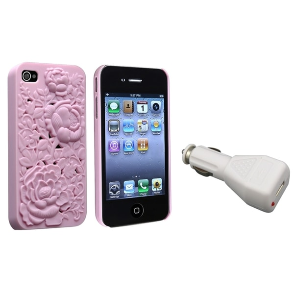 INSTEN Pink 3D Rose Phone Case Cover/ Car Charger Adapter for Apple iPhone 4/ 4S