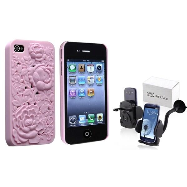 BasAcc 3D Rose Case/ Windshield Mount Holder for Apple iPhone 4/ 4S