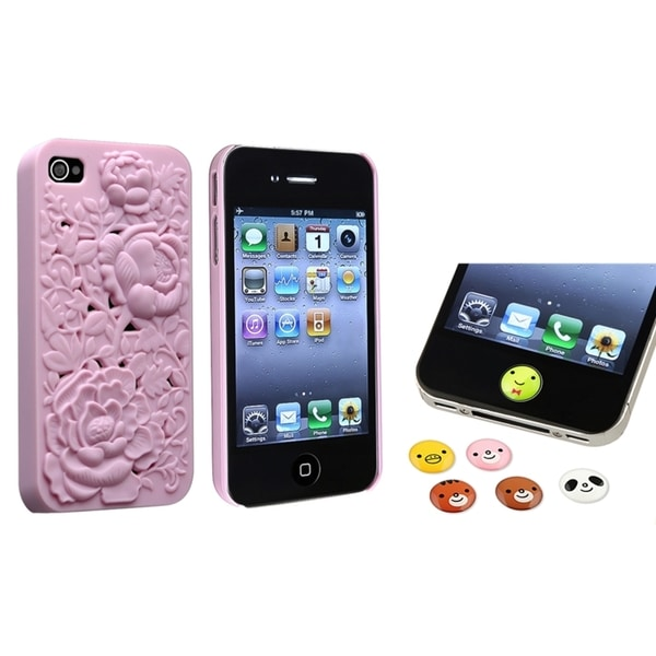 INSTEN 3D Rose Phone Case Cover/ HOME Button Sticker for Apple iPhone 4/ 4S