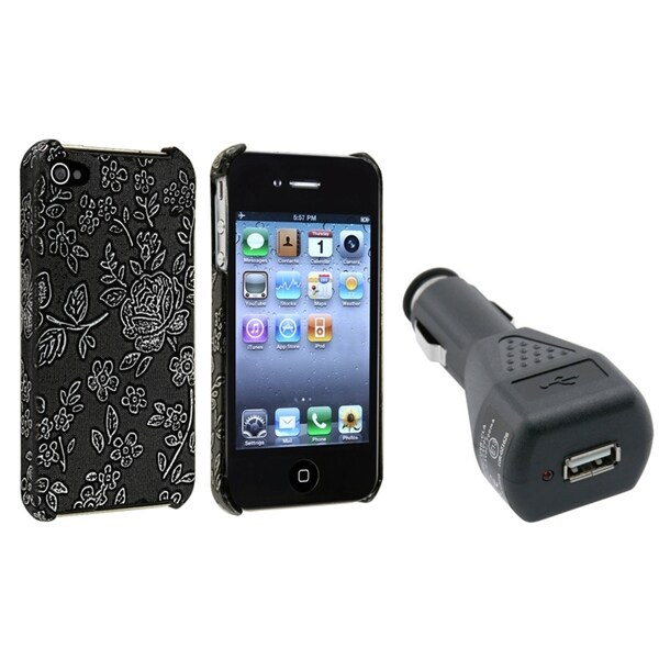 BasAcc Black Embossed Case/ Car Charger Adapter for Apple iPhone 4/ 4S