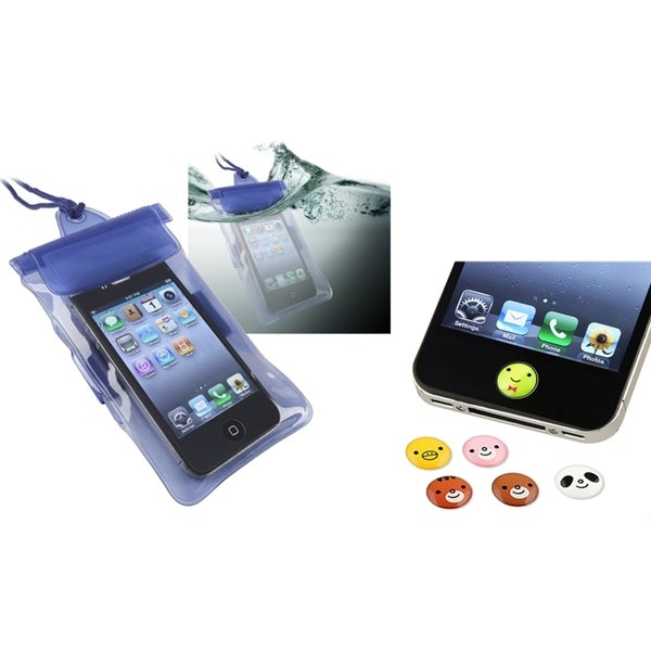 INSTEN Waterproof Bag/ HOME Button Stickers for Apple iPhone 4/ 4S