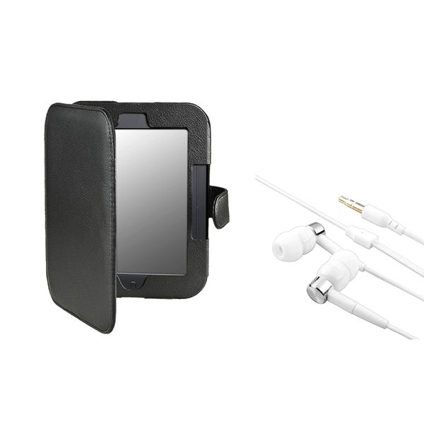 INSTEN Black Leather Phone Case Cover/ Headset for Barnes & Noble Nook 2
