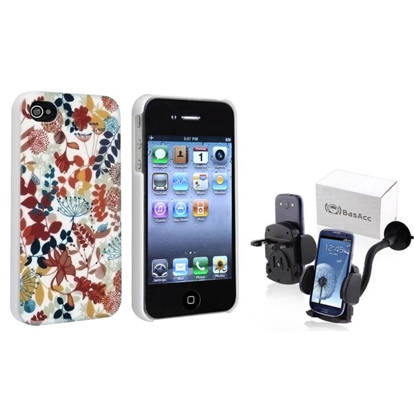 BasAcc Snap-on Case/ Windshield Mounted Holder for Apple iPhone 4/ 4S