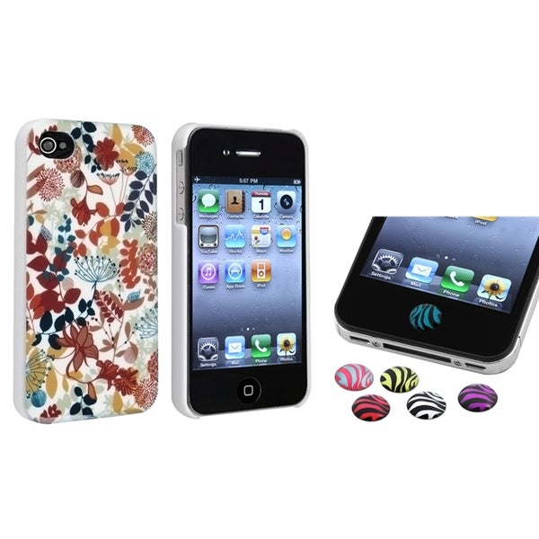 BasAcc Snap-on Case/ HOME Button Stickers for Apple iPhone 4/ 4S