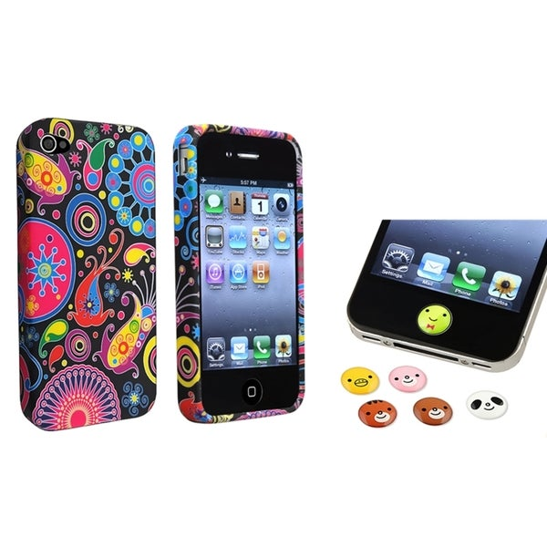 BasAcc TPU Case/ Animal HOME Button Stickers for Apple iPhone 4/ 4S