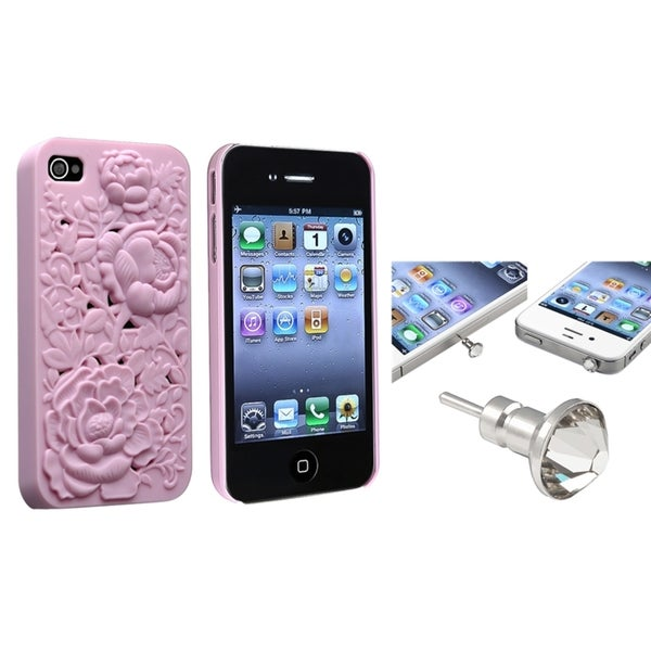 INSTEN Snap-on Phone Case Cover/ Clear Diamond Dust Cap for Apple iPhone 4/ 4S