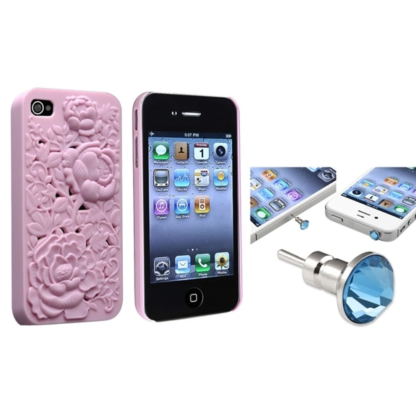 INSTEN Snap-on Phone Case Cover/ Blue Diamond Dust Cap for Apple iPhone 4/ 4S