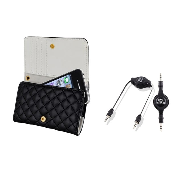 BasAcc Black Leather Case/ Audio Cable for Apple iPhone 4/ 4S