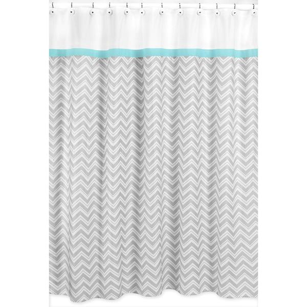 Sweet Jojo Designs Turquoise/ Grey Zig Zag Shower Curtain