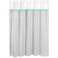 Sweet Jojo Designs Turquoise/ Grey Zig Zag Shower Curtain