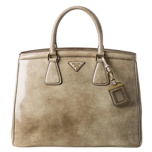 Prada 'Parabole' Taupe Spazzolato Leather Tote Bag