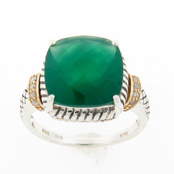 New! Meredith Leigh Silver and 14k Gold Green Onyx and Diamond Accent Ring