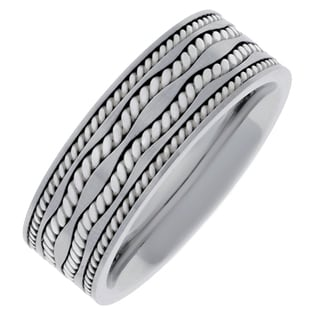 Silver-plated Stainless Steel Men's Textured Band