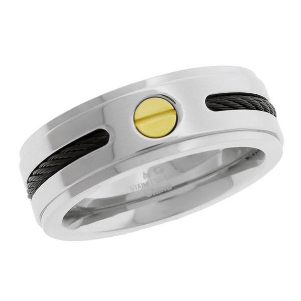 Gold and Black Ion-plated Stainless Steel Men's Band