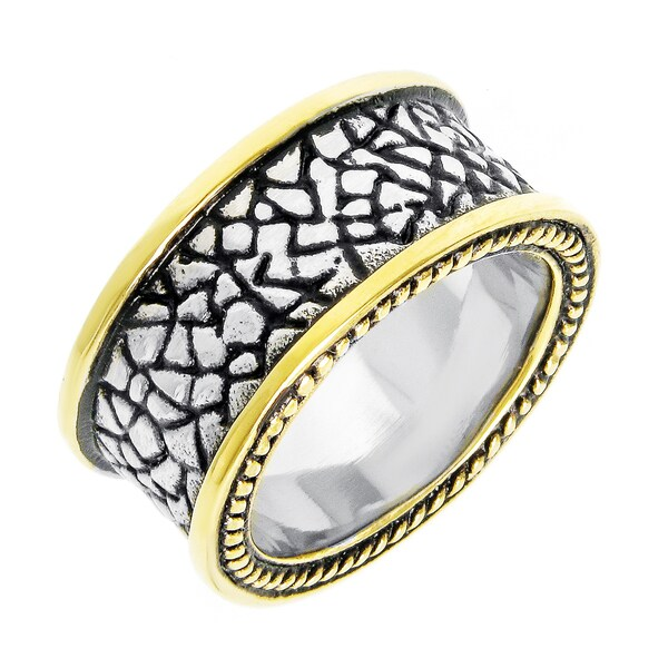 Gold Ion-plated Stainless Steel Men's Textured Band
