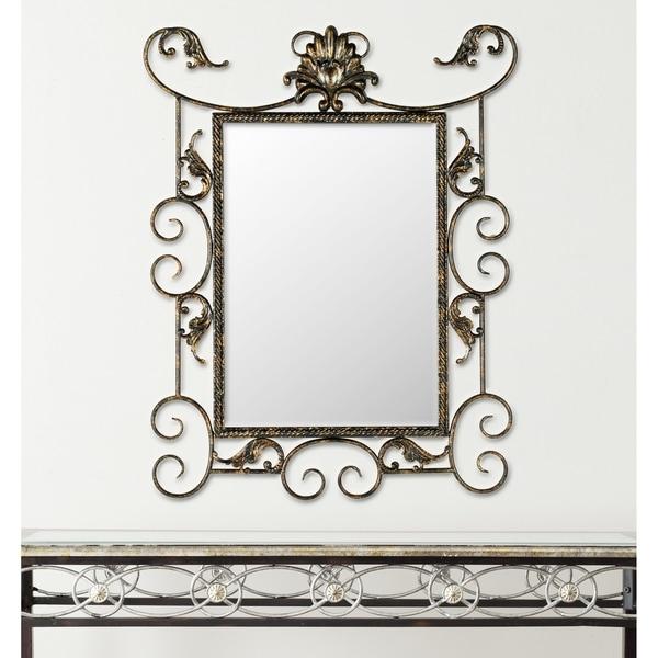 Safavieh Brenda Antiqued Brown/ Gold Scrolls 22 x 29-inch Mirror