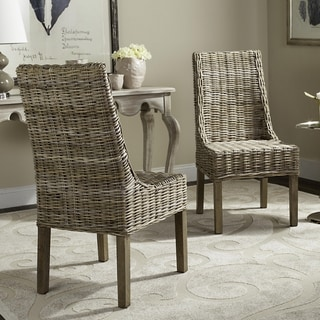Safavieh Dining Rural Woven Suncoast Unfinished Natural Wicker Arm Chairs (Set of 2)