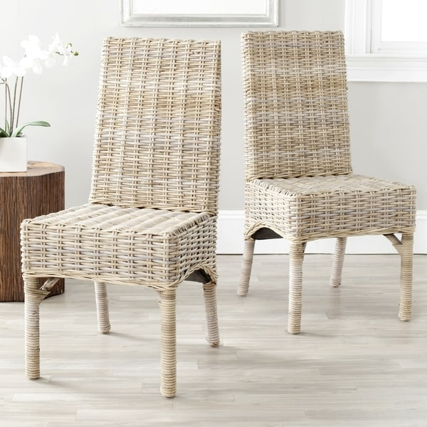 Safavieh Rural Woven Dining Beacon Unfinished Natural Wicker Side Chairs (Set of 2)