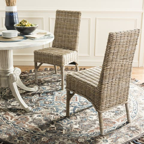 """SAFAVIEH Dining Rural Woven Beacon Unfinished Natural Wicker Dining Chairs (Set of 2) - 18.5"""" x 18.5"""" x 38.1"""""""
